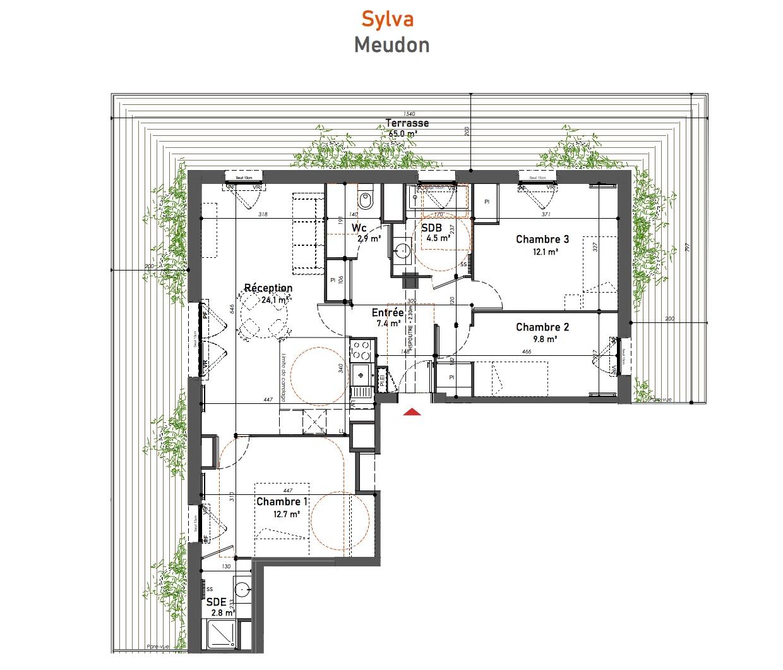 T4 - 76,30 m² - 5ème étage - Terrasse - Parking
