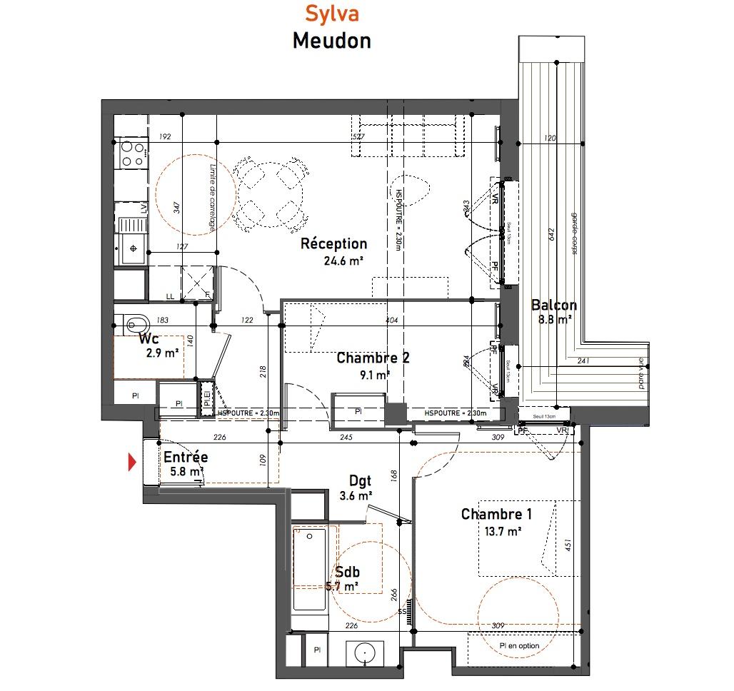 T3 - 65,40 m² - 4ème étage - Balcon - Parking