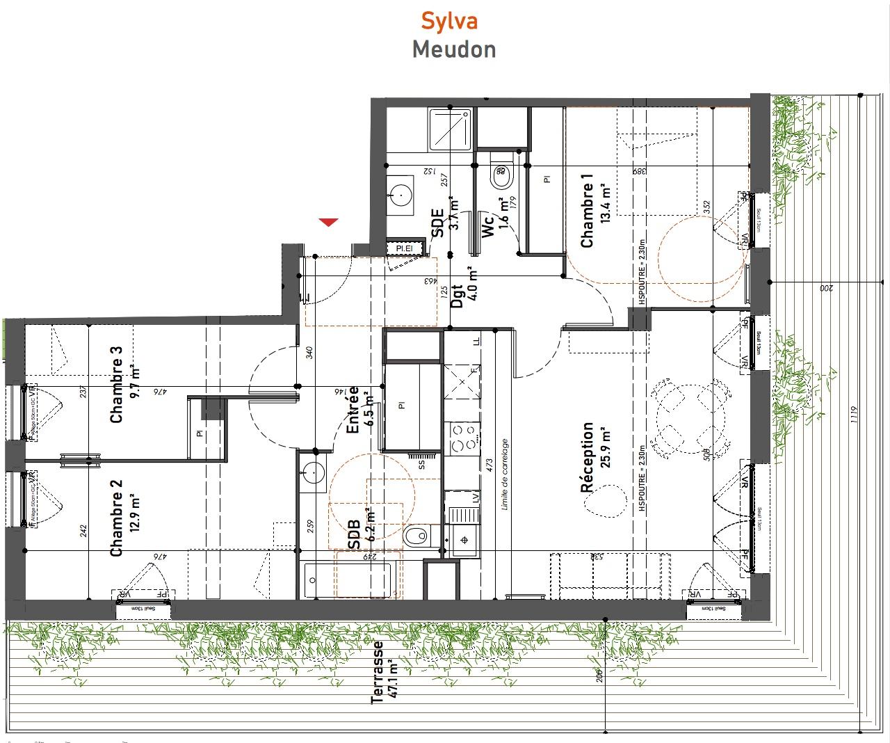 T4 - 83,90 m² - 5ème étage - Terrasse - Parking