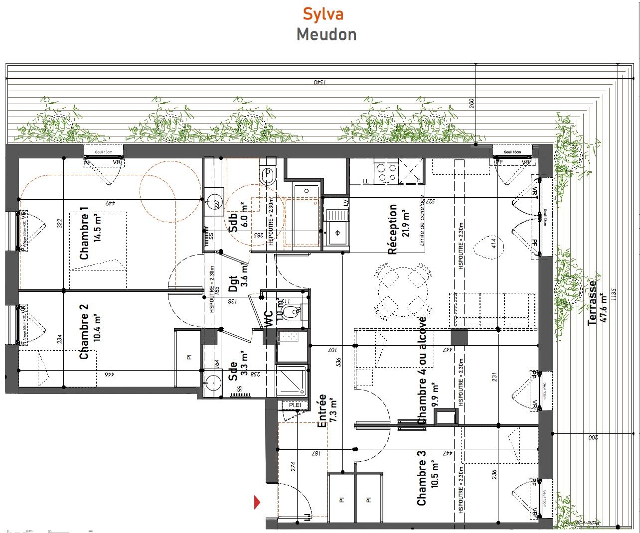 T5 - 88,40 m² - 5ème étage - Terrasse - Parking