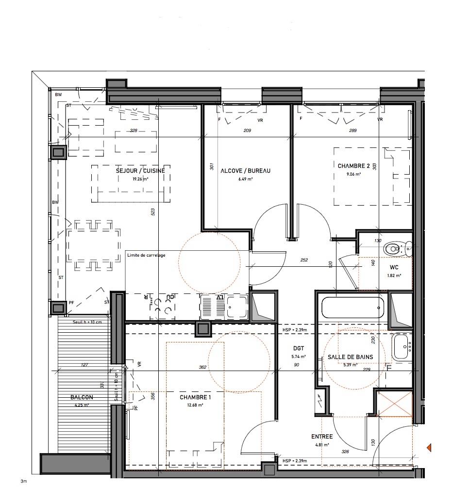 T3 - 65,25 m² - 2ème étage - Balcon - Parking