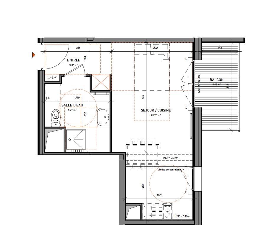 T1 - 30,87 m² - 4ème étage - Balcon
