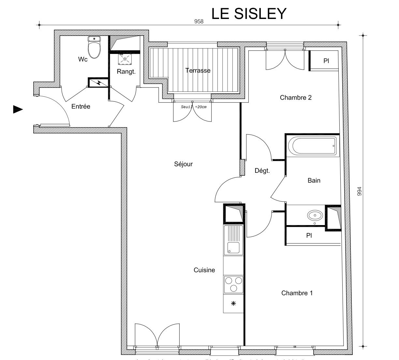 T3 - 63,70 m² - 2ème étage - Balcon - Parking