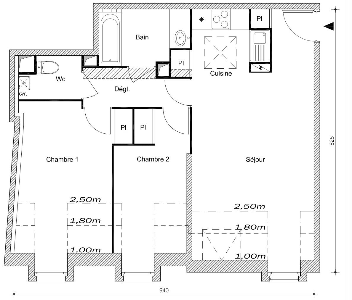 T3 - 59,75 m² - 3ème étage - Parking