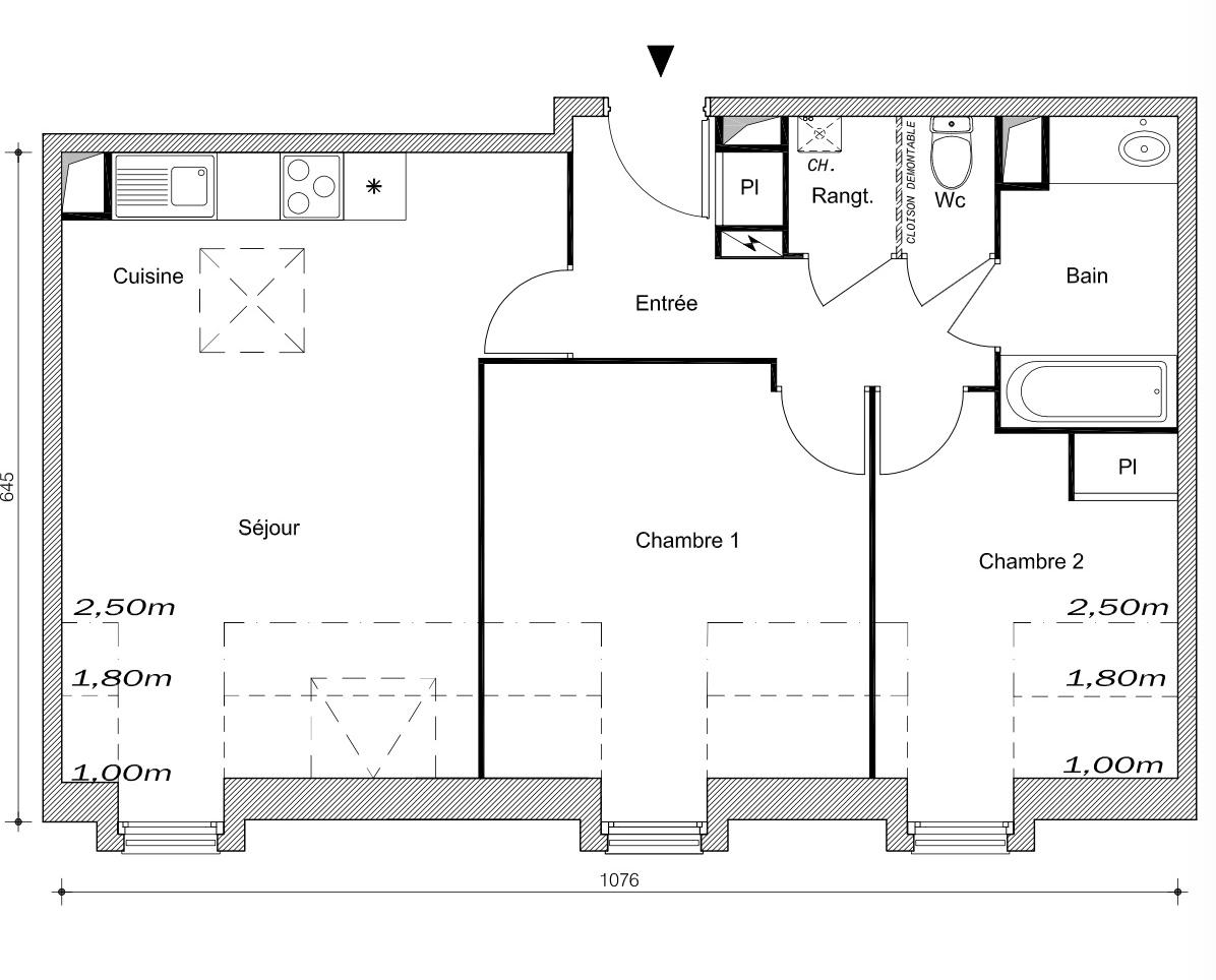 T3 - 61,75 m² - 3ème étage - Parking