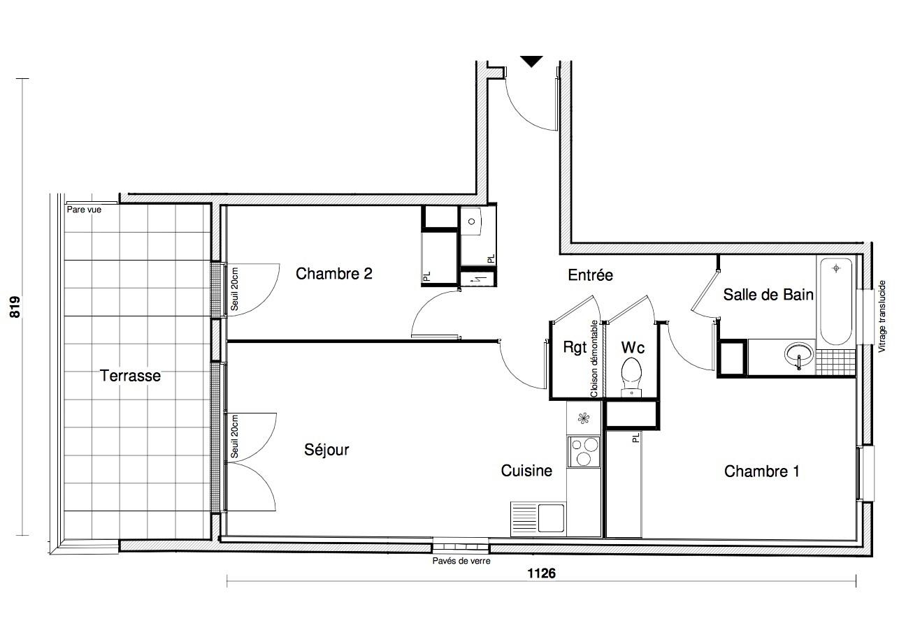 T3 - 62,76 m² - RdC - Terrasse - Parking