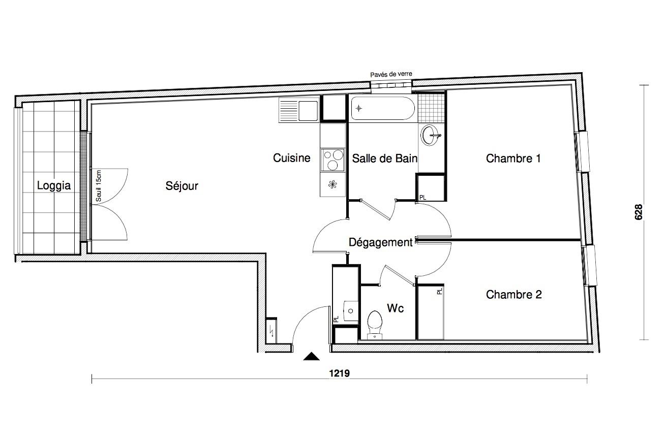 T3 - 61,43 m² - 2ème étage - Balcon - Parking