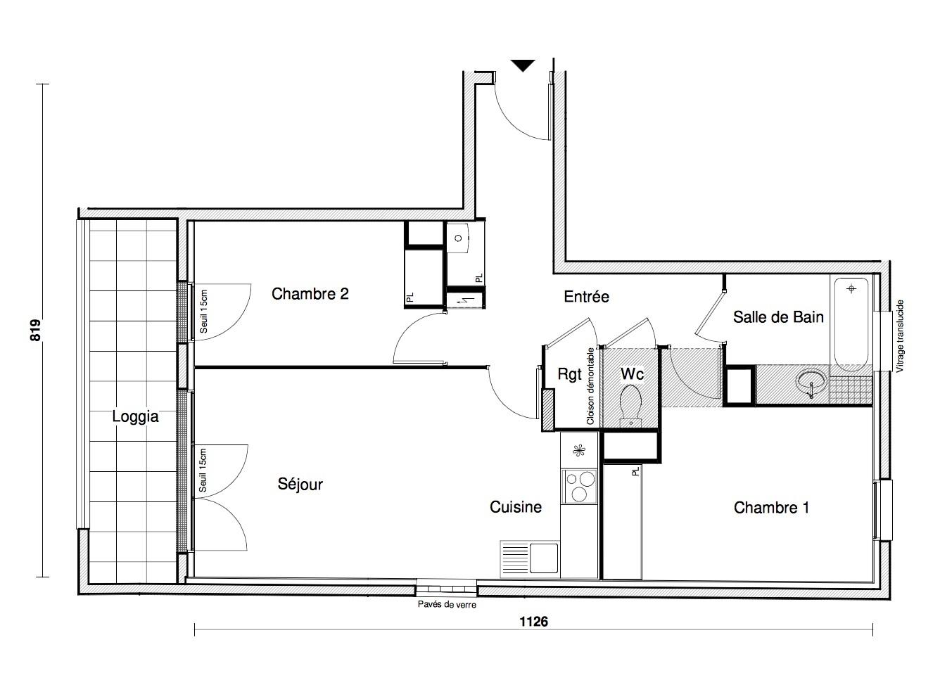 T3 - 62,66 m² - 3ème étage - Balcon - Parking
