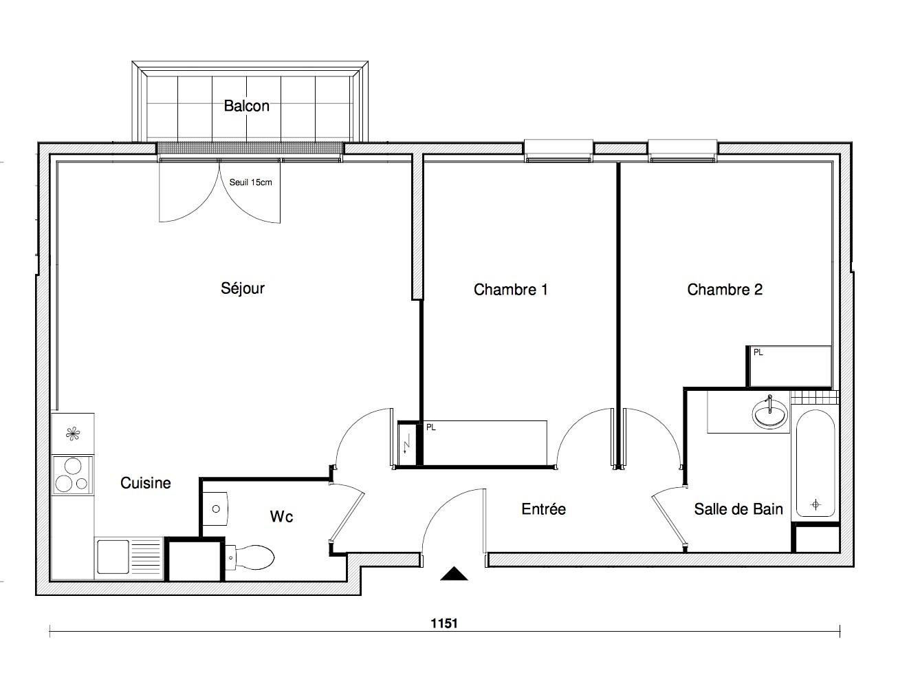 T3 - 63,88 m² - 3ème étage - Balcon - Parking