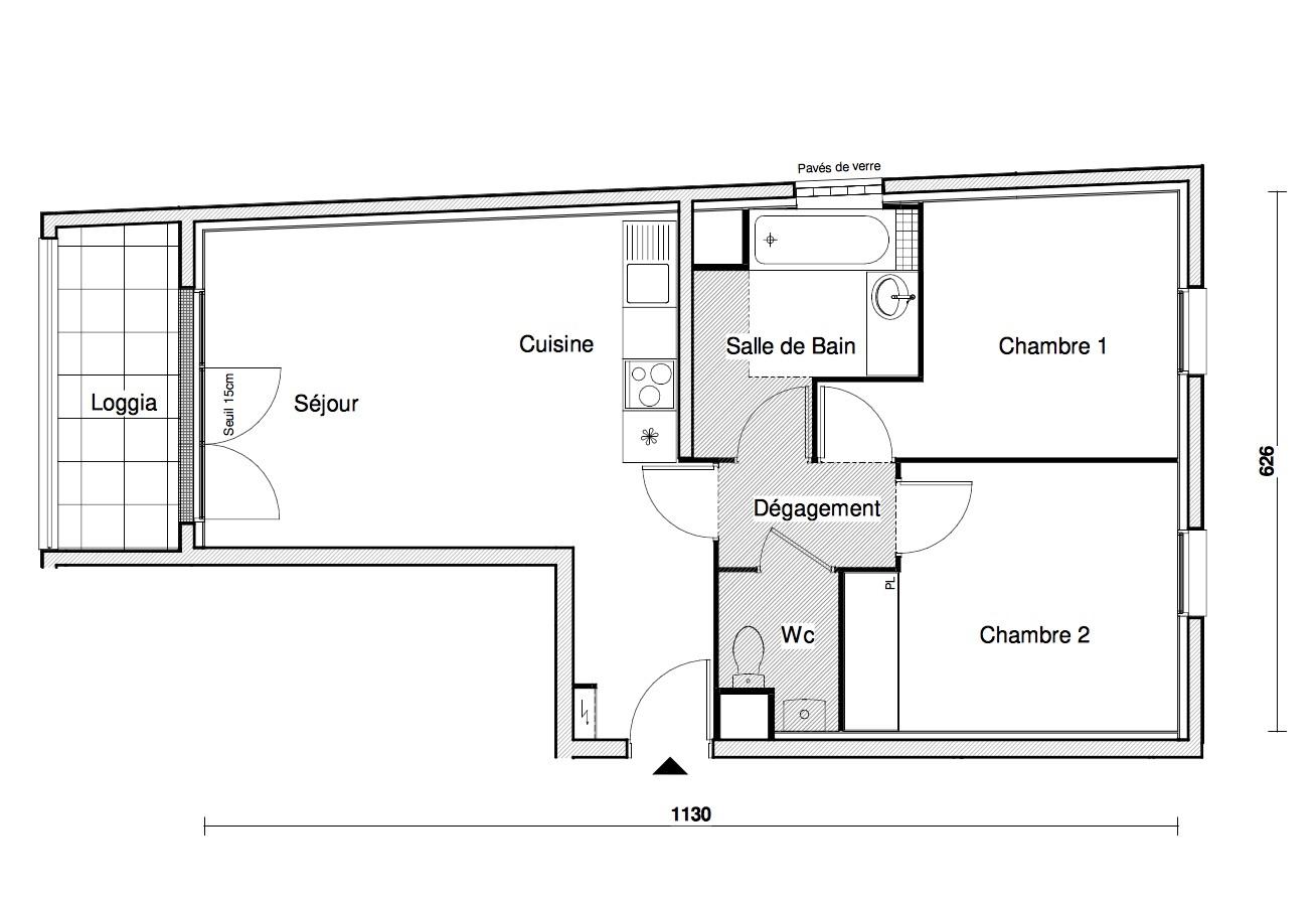 T3 - 56,79 m² - 3ème étage - Balcon - Parking