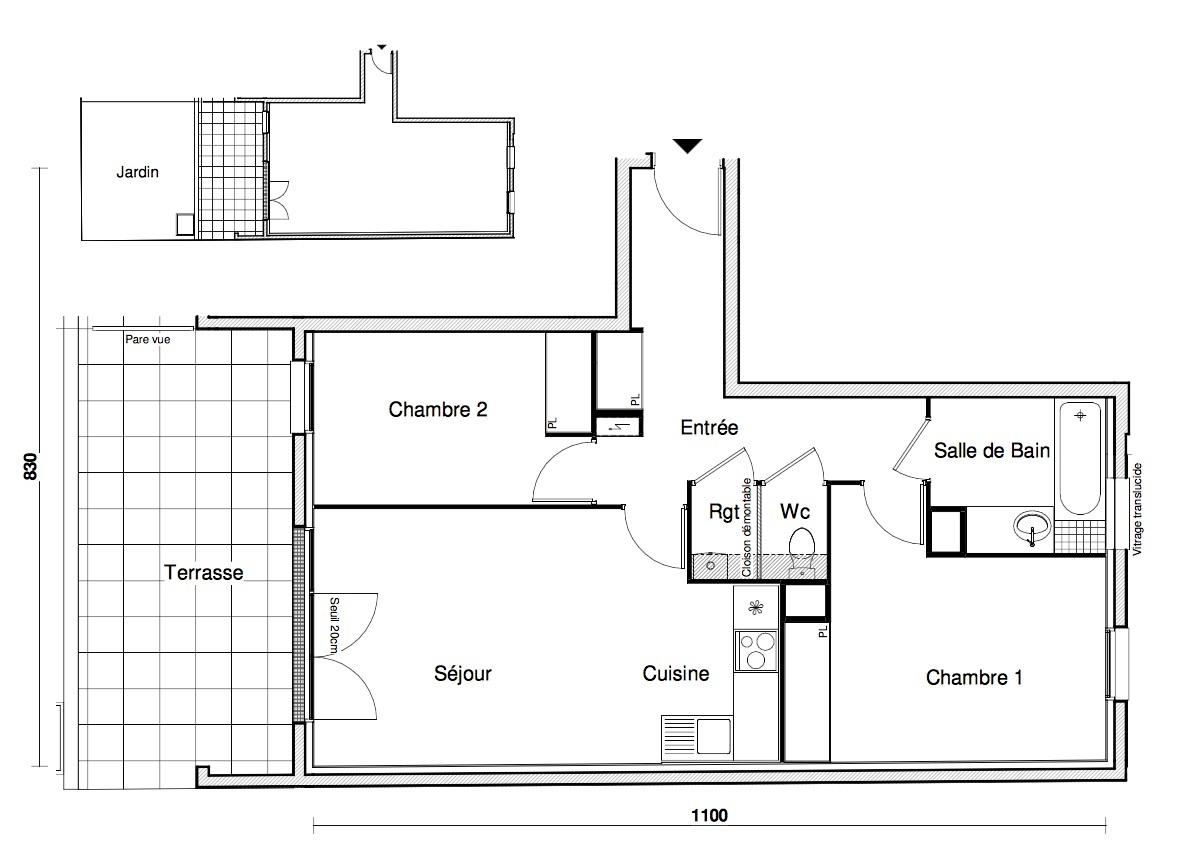 T3 - 61,86 m² - RdJ - Terrasse - Jardin - Parking
