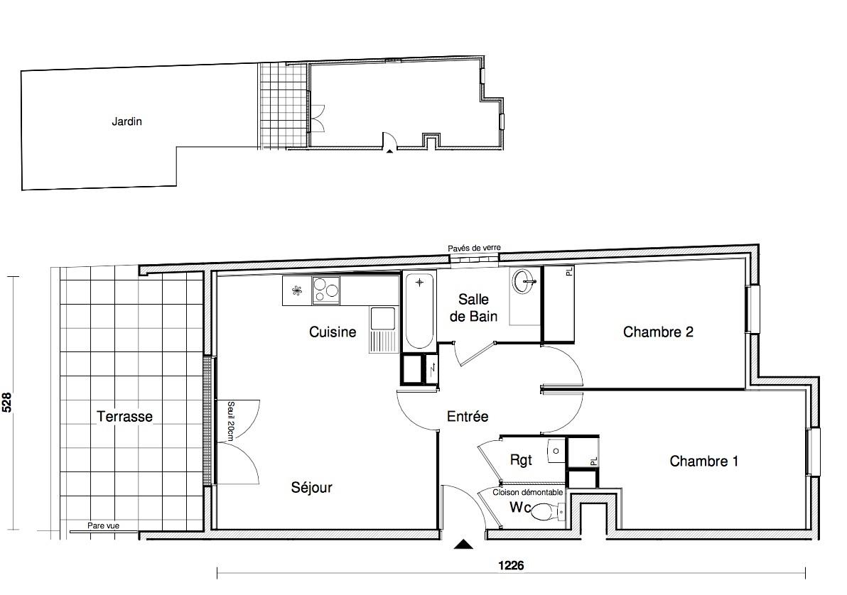 T3 - 60,72 m² - RdJ - Terrasse - Jardin - Parking