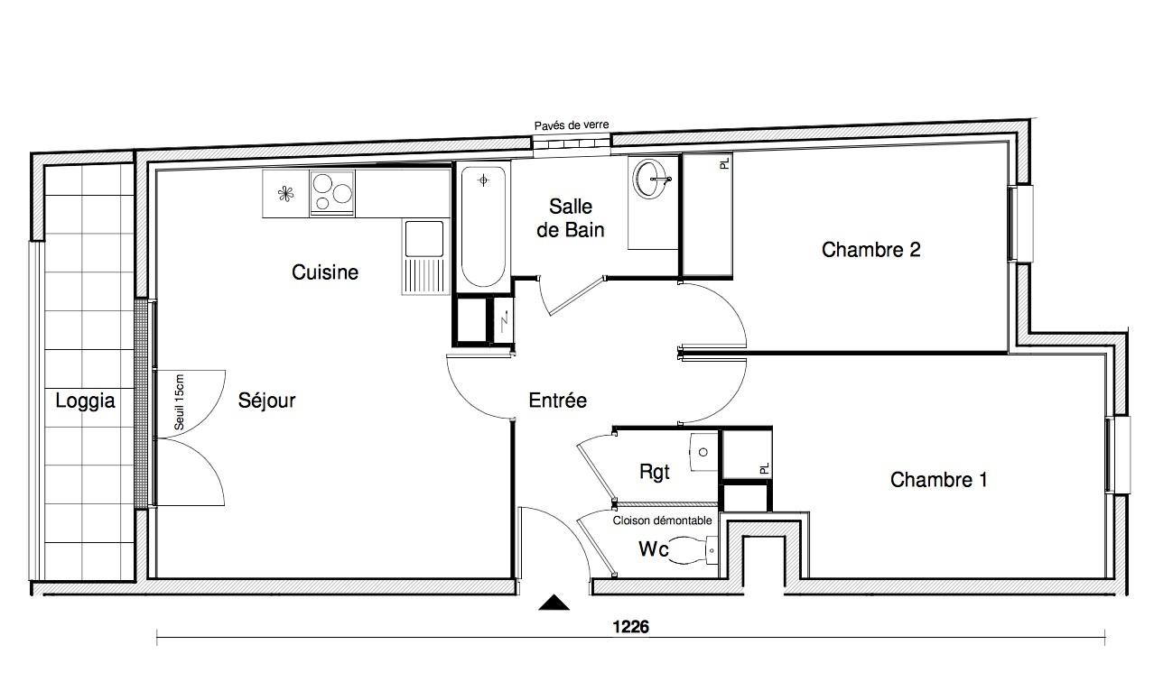 T3 - 60,72 m² - 1er étage - Balcon - Parking