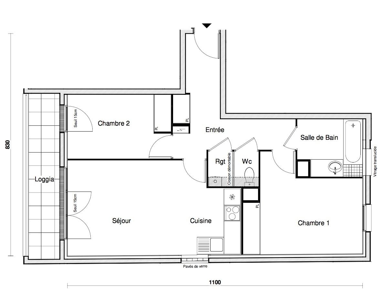T3 - 61,86 m² - 2ème étage - Balcon - Parking