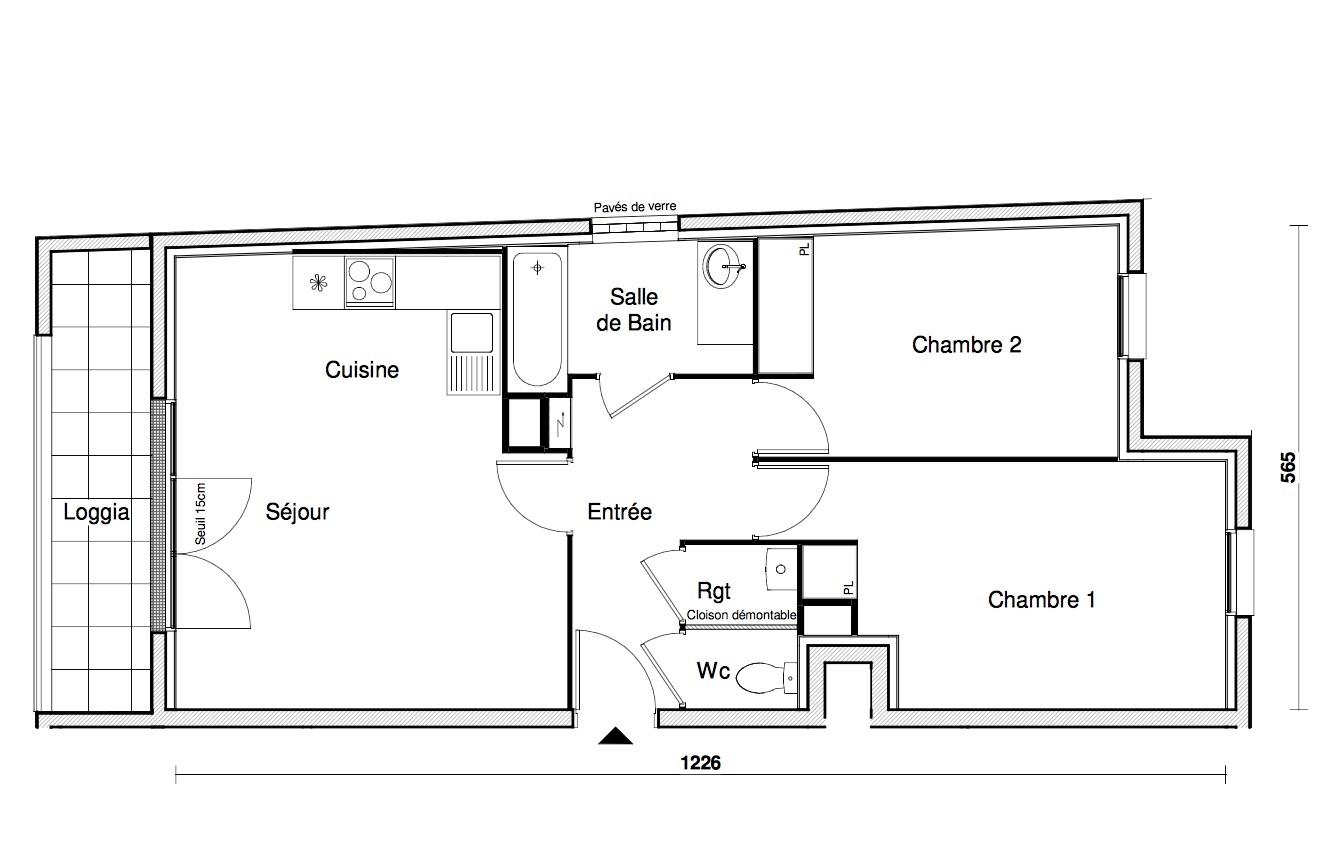 T3 - 60,72 m² - 2ème étage - Balcon - Parking
