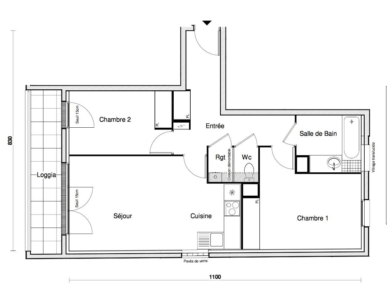 T3 - 62,76 m² - 2ème étage - Balcon - Parking