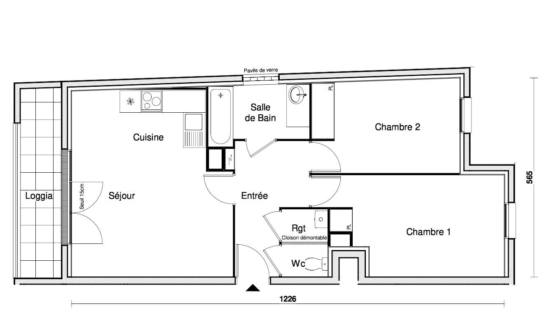 T3 - 60,72 m² - 3ème étage - Balcon - Parking