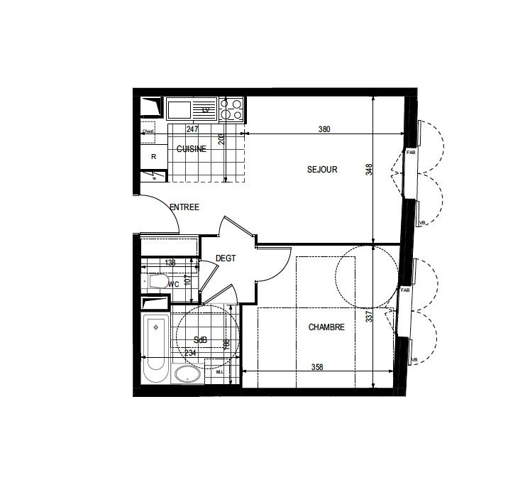 T2 - 40,68 m² - 1er étage - Parking