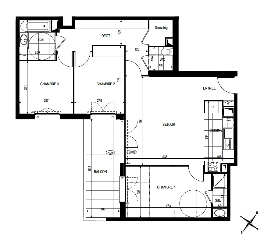 T4 - 79,99 m² - 1er étage - Balcon - Parking