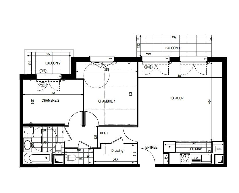T3 - 63,83 m² - 2ème étage - Balcon - Parking