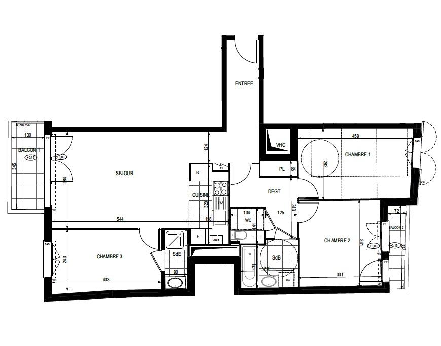 T4 - 82,81 m² - 2ème étage - Balcon - Parking