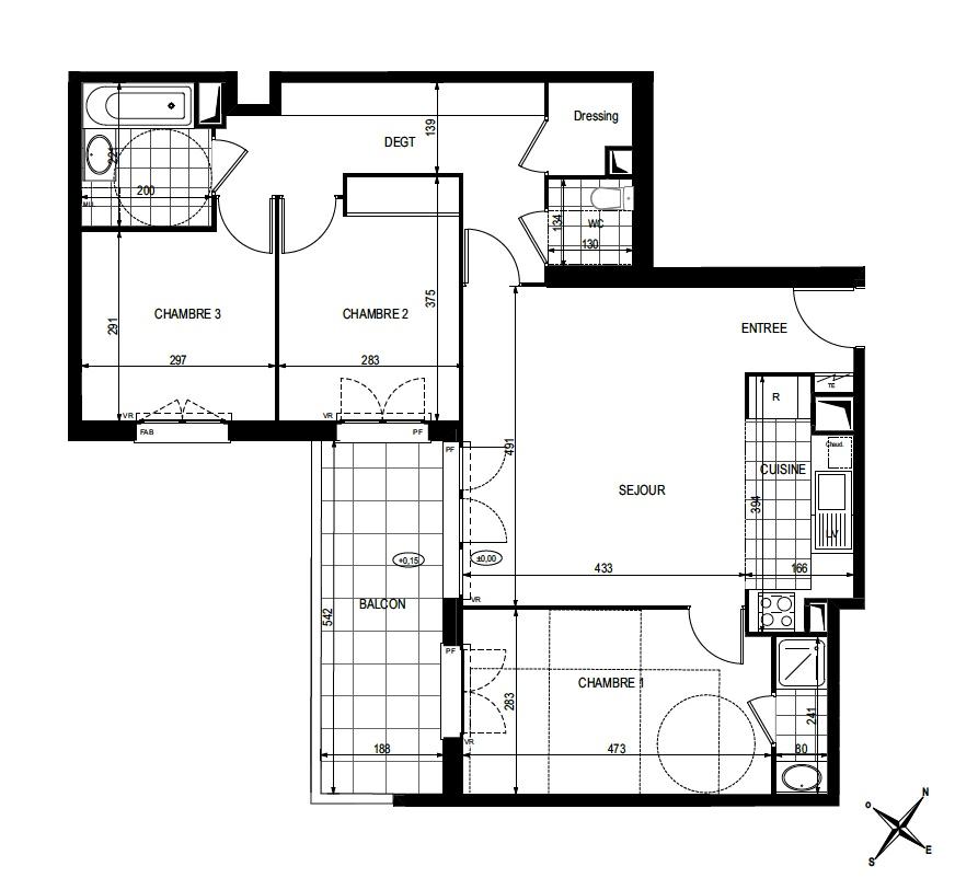 T4 - 79,99 m² - 2ème étage - Balcon - Parking