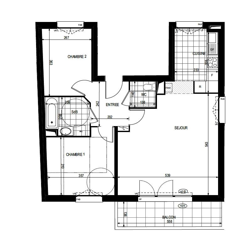 T3 - 68,04 m² - 1er étage - Balcon - Parking