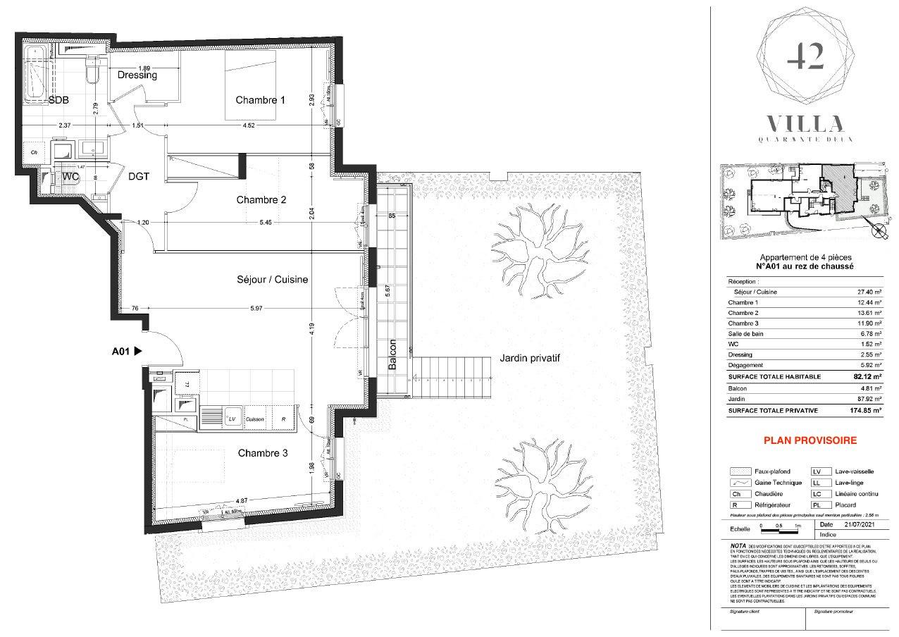 T4 - 82,12 m² - RdJ - Balcon - Jardin - Parking