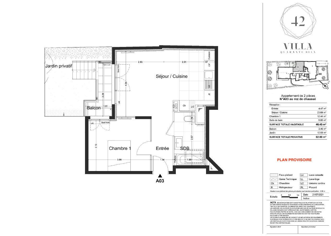 T2 - 46,45 m² - RdJ - Balcon - Jardin - Parking