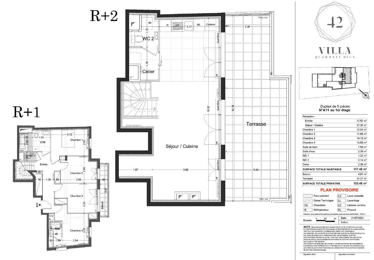 T5 Duplex - 117,40 m² - 1/2 ème étage - Terrasse - Balcon - Parking