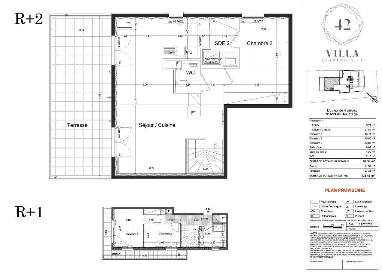 T4 Duplex - 99,58 m² - 1/2 ème étage - Terrasse - Balcon - Parking