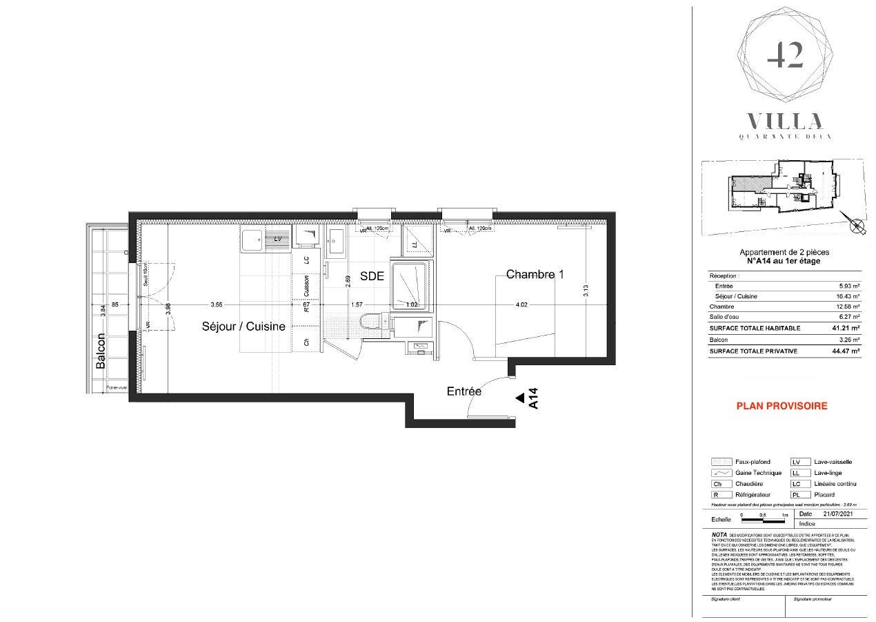 T2 - 41,21 m² - 1er étage - Balcon - Parking