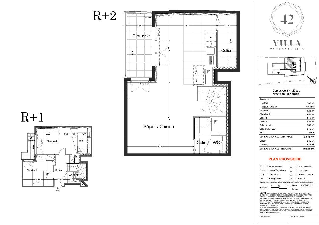 T3/4 Duplex - 92,16 m² - 1/2 ème étage - Terrasse - Parking