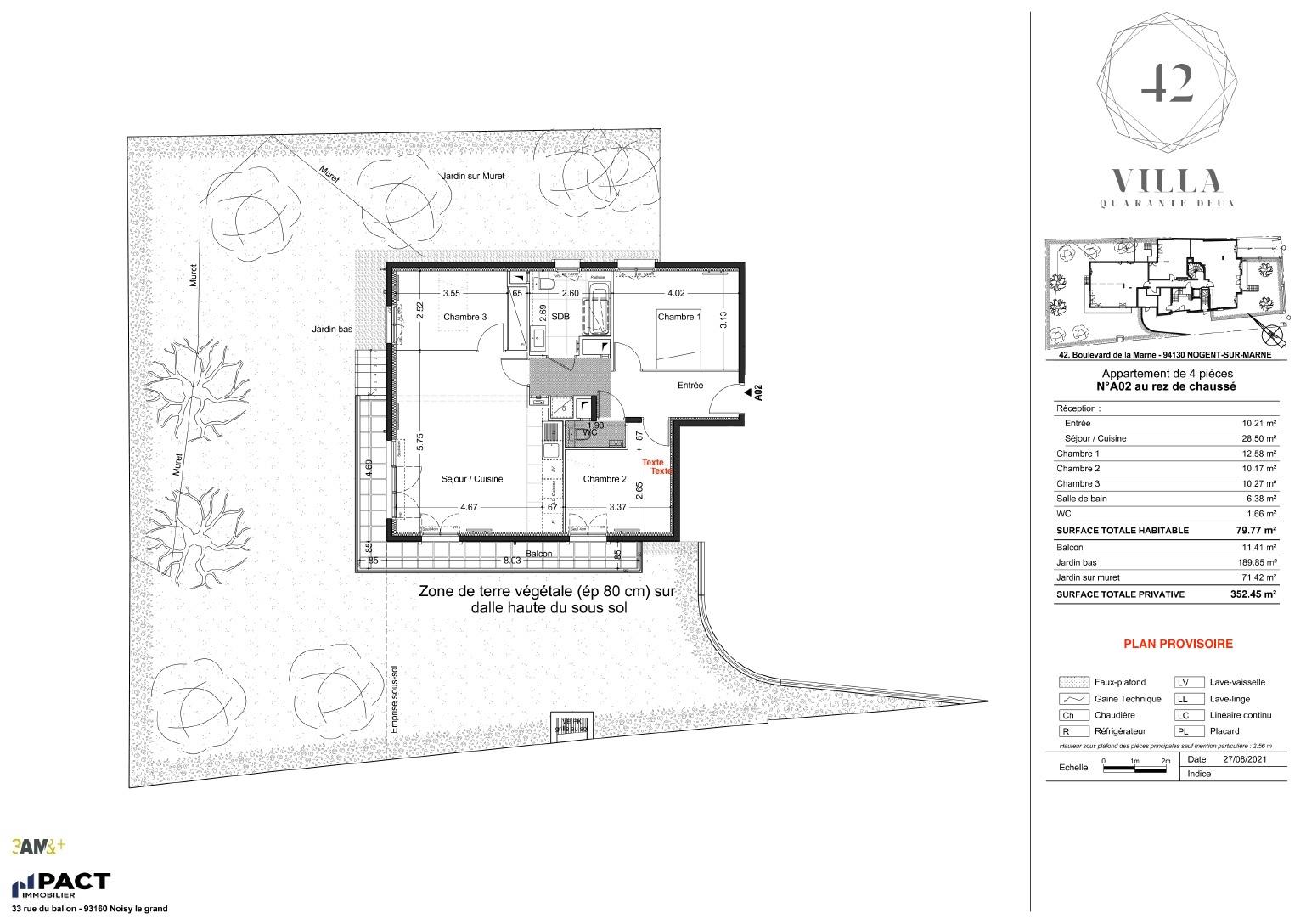 T4 - 79,77 m² - RdJ - Balcon - Jardin - Parking