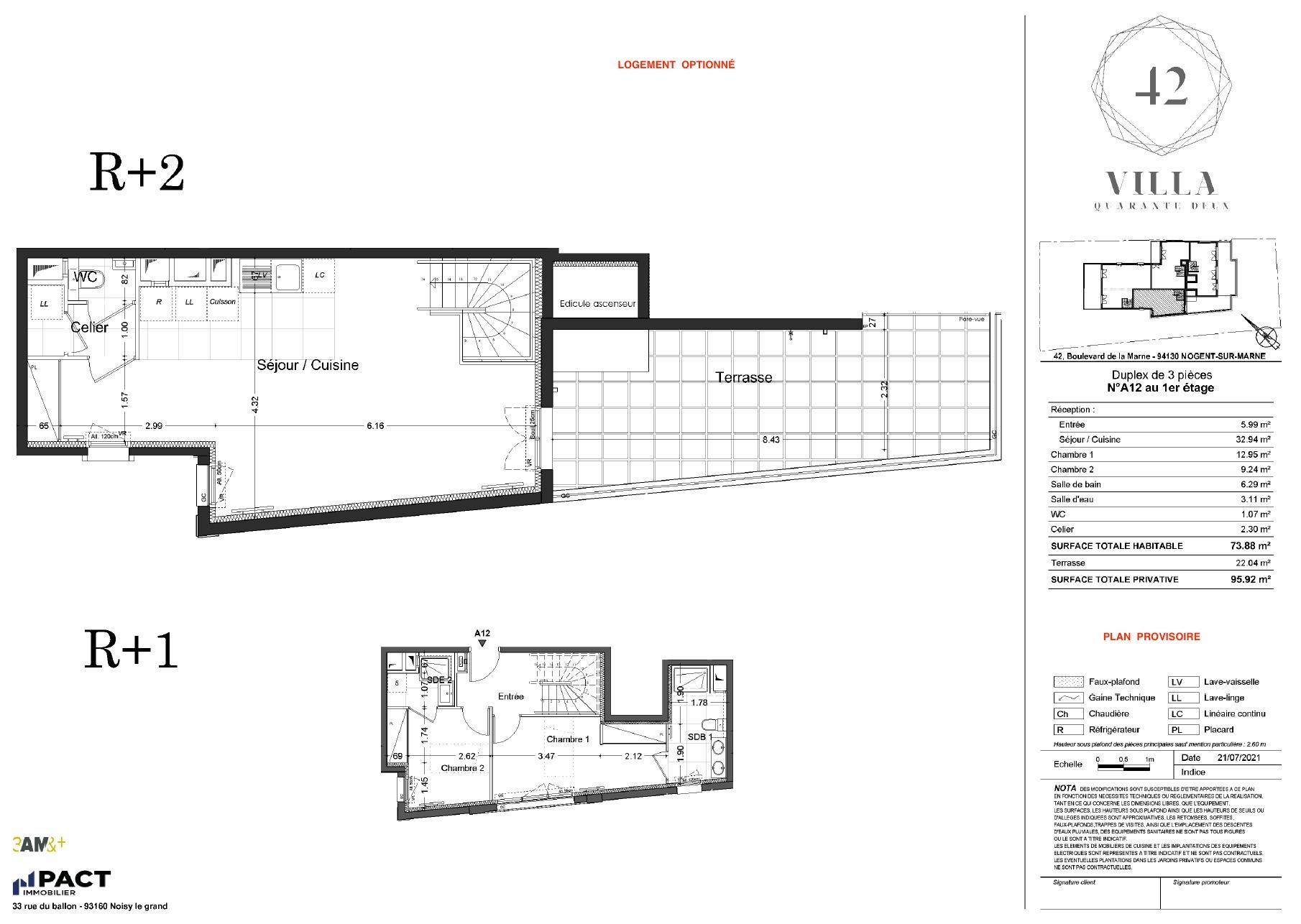 T3 Duplex - 73,88 m² - 1/2 ème étage - Terrasse - Parking